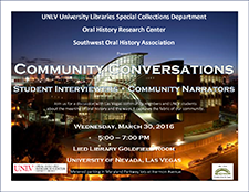 community conversations flier w/ Lied Library UNLV